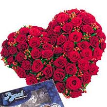 Cuore di rose rosse e baci