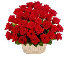 Basket with red roses