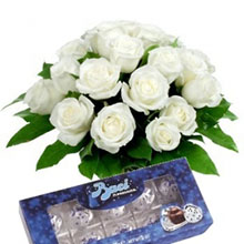 Bouquet white roses and kisses