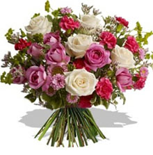 Bouquet with white roses and pink